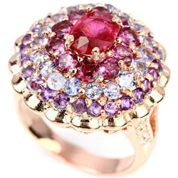 Natural RUBY RHODOLITE AMETHYST TANZANITE Ring