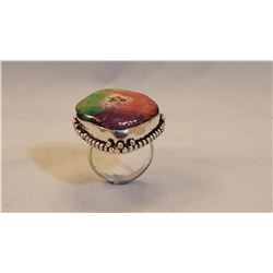 VIVID MULTI COLOR 25 CT  DRUZY QUARTZ RING