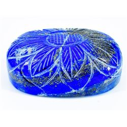 HUGE CERTIFIED BLUE LAPIS CARVED FLOWER