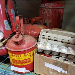 3 VINTAGE METAL GAS CANS