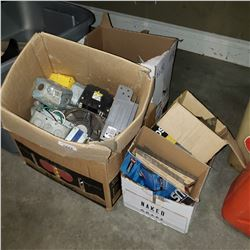 LOT OF ELECTRICAL HARDWARE AND STRIP NAILS
