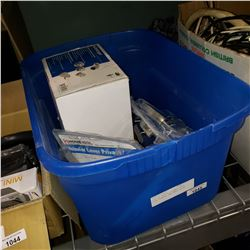 BOX OF FAUCET, SHOWER HEAD, DOOR LEVERS, AND MESH HOSES