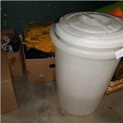 BOX OF RAIN COATS AND 2 WHITE PAILS