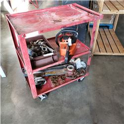RED 2 TIER ROLLING CART