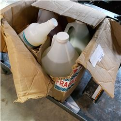 BOX OF CLEANING FLUIDS AND VINYL POLISH