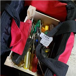RED CLOTH TOOL BAG W/ CONTENTS