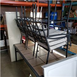 METAL TILE TOP PATIO TABLE WITH 6 CHAIRS WITH CUSHIONS