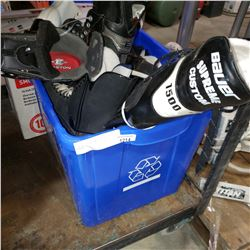 BIN OF HOCKEY AND FIGURE SKATES