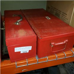 AIR CO POWER MASTER PARTS, NO PUMP AND RED TOOL BOX W/ TOOLS