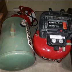 PORTER-CABLE PANCAKE AIR COMPRESSOR AND 2 AIR TANKS
