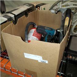 MAKITA CORDLESS DRILL AND BOX OF TOOLS