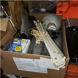 WOOD CRATE OF GALVANIZED ANCHORS AND BRACKETS, BOX OF WATER FILTER, ARM LIGHT AND ROUTER TABLE