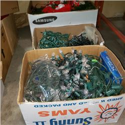 3 BOXES OF LIGHTS AND TREE DECOR