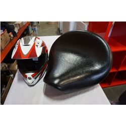 DIRT BIKE HELMET AND MOTORCYCLE SEAT