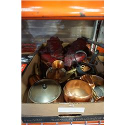 TRAY OF COPPER POTS, PANS, DECOR, AND 2 EASTERN WALL PLAQUES