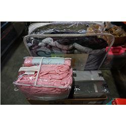 BOX LOT OF SHEETS AND ARTINEN QUEEN FLEECE BLANKET