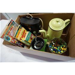 BINOCULARS, METAL COFFEE POT, COFFEE GRINDER, MARBLES, AND VINTAGE COMICS