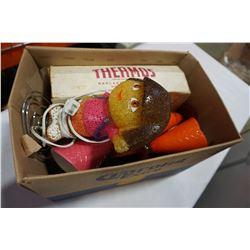 BOX OF ESTATE GOODS, DORA LAMP, GLASSES