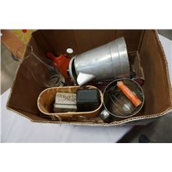 BOX OF OIL LAMP, SIFTER, COFFEE URN, AND MORE