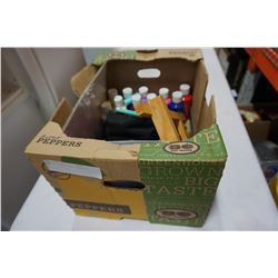 BOX OF PAINT AND ART SUPPLIES