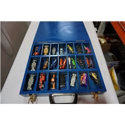 CUSTOM BLUE WOODEN HOTWHEELS CASE W/ CARS