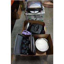 HAMILTON BEACH FRYING PAN AND 2 SANDWICH MAKERS AND BAKING PANS