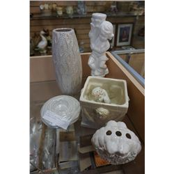 CERAMIC VASE AND CANDLE HOLDER AND ANGEL FIGURES