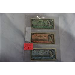 1954 CANADIAN BILLS $1,2,5