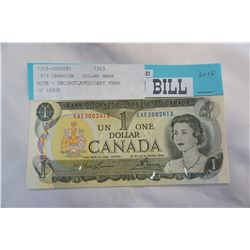 1973 CANADIAN 1 DOLLAR BANK NOTE - UNCIRCULATED/LAST YEAR OF ISSUE