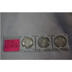 3 MEXICAN SILVER PESOS MINT CONDITION 1963, 1966, 1967