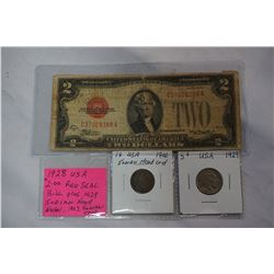 1928 USA $2 RED SEAL BILL PLUS 1929 INDIAN HEAD NICKEL AND 1902 INDIAN HEAD CENT