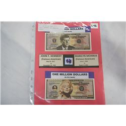MILLION DOLLAR BANK NOTES - JOHN F KENNEDY AND MARILYN MONROE