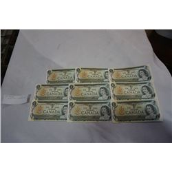LOT OF 9 1973 1 DOLLAR BILLS