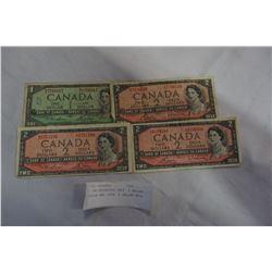 3 UNCIRCULATED 1954 2 DOLLAR BILLS AND 1954 1 DOLLAR BILL