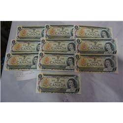 1973 UNCIRCULATED CANADIN 1 DOLLAR BILLS