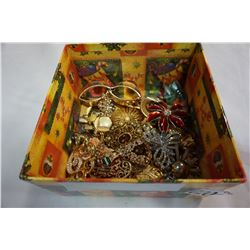 BOX OF ESTATE CHRISTMAS PINS ETC