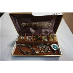 JEWELLERY CASE W/ BRACELETS AND NECKLACES