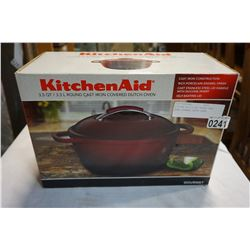 KITCHEN AID 3.5QT ROUND CAST IRON COVERED DUTCH OVEN