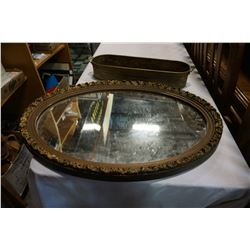 VINTAGE OVAL WALL MIRROR AND BRASS TRAY