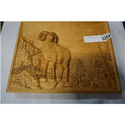 BIG HORN CARVED PICTURE