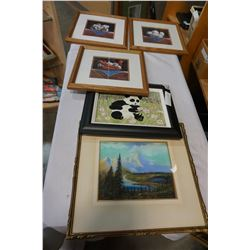 THE MAGIC GROVE BY CLARENCE WILSON AND CATHEDRAL MOUNTAINS PASTEL PAINTINGS AND 3 PRINTS