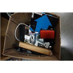 BOX OF ELECTRONICS, COLD HEAT GUN, MANUALS, ETC