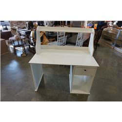 WHITE 1 DRAWER SINGLE PEDESTAL DESK