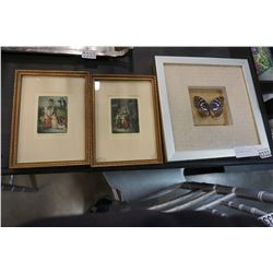 2 SMALL CRIES OF LONDON PRINTS AND FRAMED BUTTERFLY