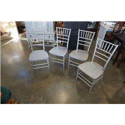 4 PAINTED SILVER DINING CHAIRS