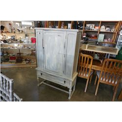 PAINTED GREY ANTIQUE CABINET W/ 1 DRAWER AND DOOR
