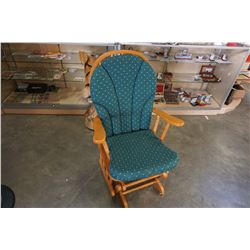WOODEN ROCKING CHAIR WITH GREEN CUSHION