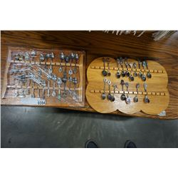 2 SPOON RACKS W/ STERLING AND OTHER SPOONS