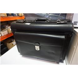 BLACK LEATHER ROLLING BRIEFCASE