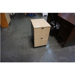 2 DRAWER ROLLING MAPLE FILING CABINET